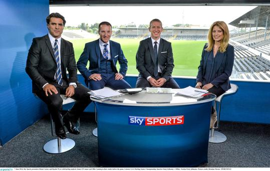 Sky Sports presenters Brian Carney and Rachel Wyse with hurling analysts James O'Connor and Ollie Canning in studio.