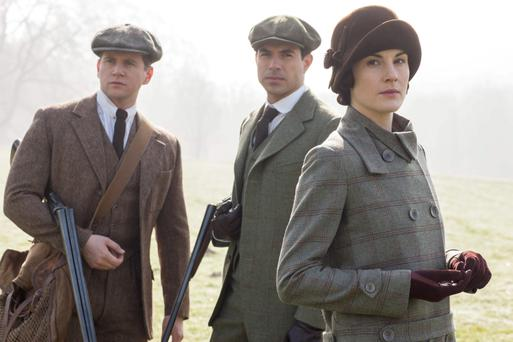 Allen Leech as Tom Branson, Tom Cullen as Gillingham and Michelle Dockery as Lady Mary Crawley in the hit TV series 'Downton Abbey'