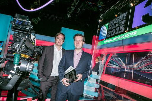 TV3's Pat Kiely and INM group marketing director Geoff Lyons at the announcement of the deal