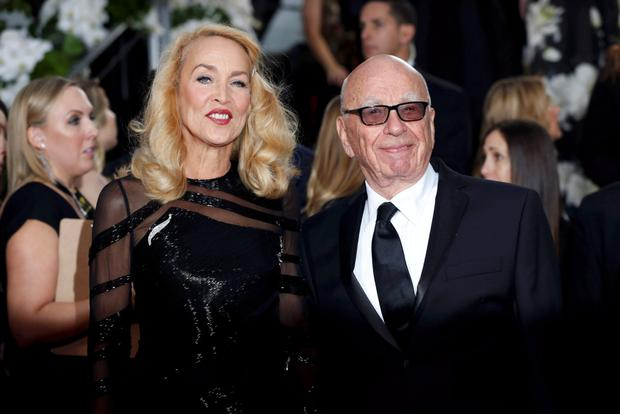 News Corp's Rupert Murdoch with bride-to-be Jerry Hall. Photo: Reuters