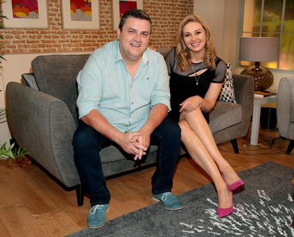 Simon Delaney and Anna Daly pictured on set at the TV3 HD Studio: Saturday and Sunday mornings are about to get a whole lot more entertaining on Tv3 with the arrival of Saturday: AM and Sunday: AM.