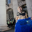 Homeless actor Tommy KD outside the GPO on O'Connell Street in a scene from the new advert for Dublin Simon Community