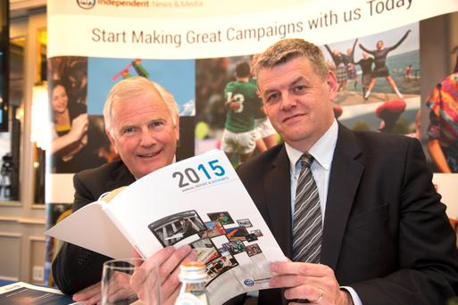 Jerome Kennedy, senior independent director and meeting chairman, with Robert Pitt, INM chief executive, at the INM agm at the Westbury Hotel in Dublin. Photo: Colin O'Riordan