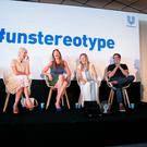 Juliana L. Chugg, Rosie Arnold, actress Alysia Reiner, Aline Santos, director R. Balki and journalist Lucy Hocking attend the Unilever's #unstereotype panel discussion on portrayals of gender in advertising