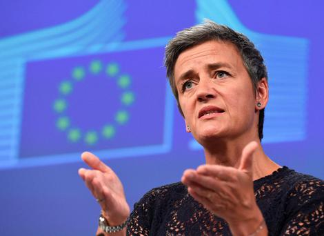 EU Commissioner of Competition Margrethe Vestager gives a press conference on antitrust cases in Brussels. Photo: AFP/Getty Images