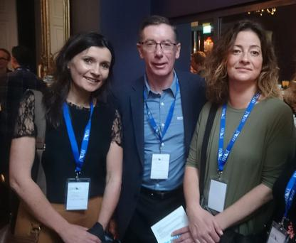 Fiona Field, Mediaworks; Peter McPartlin, MediaCom; and Jess Felton, Raygun, at the Sharks Festival launch in the Cliff Townhouse restaurant on St Stephen's Green in Dublin