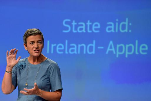 Taxing times: European Commissioner Margrethe Vestager at a news conference on Ireland's tax dealings with Apple in Brussels, Belgium