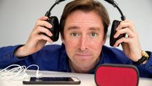 Adrian Weckler, technology editor, with Sony MDR1RBT headphones, Logitech UE miniboom wireless speaker and iPhone 6 Plus phone. Picture: Arthur Carron