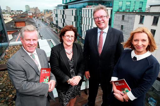 Charlie Weston, Personal Finance Editor Irish Independent with authors Mary Roche, Brian Keegan and Norah Collender at the launch of a new guide to Property Tax, Surviving Local Property Tax at Chartered Accountants House in Dublin