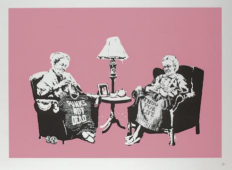 'Grannies' by Banksy is to be auctioned at the RDS in Dublin.
