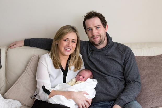 Sarah Woods and Conor Vavasseur and their one-week-old boy, Bobby at their aparatment in Ranelagh.