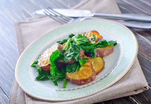 Sweet potato with spinach.