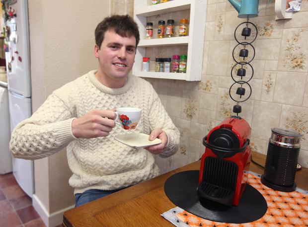 Gerard Harrington enjoys a coffee at his home in Santry. Picture: Damien Eagers