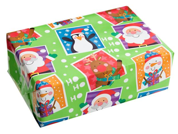 Dealz wrapping paper, €1.49 per roll.