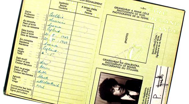 Phil Lynott's passport, which goes up for auction this weekend at the Whyte's sale