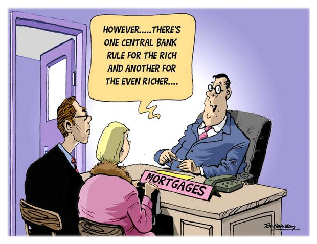 'Even though some single first-time buyers on the average wage can still borrow as much today as they could before the Central Bank rules kicked in (as long as they get an exception), their chances of being able to buy a property with this mortgage are slim' Cartoon by Tom Halliday