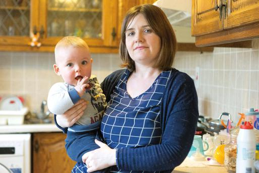 Elaine Grace O'Sullivan and son Kyle at home in Sixmelebridge, Co Clare. Photo: Eamon Ward