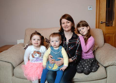 Mary Gargan and her daughters Shauna, 6, right, Michaela, 3, and Sorcha, 1 at Kinsealy Court, Swords, Co Dublin. Photo: Caroline Quinn