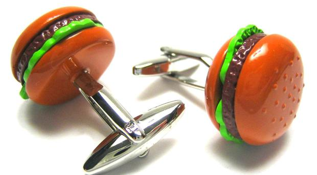 Burger cufflinks, €16.95, Cufflinks.ie