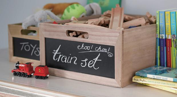 Chalkboard fronted storage crates, Homebase,€22.09