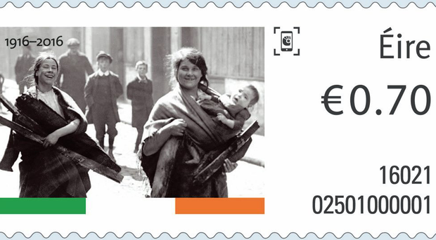 One of the commemorative stamps