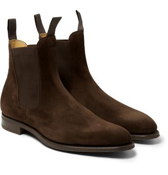 Marty Whelan's brown suede Chelsea boots from LouisCopeland.com
