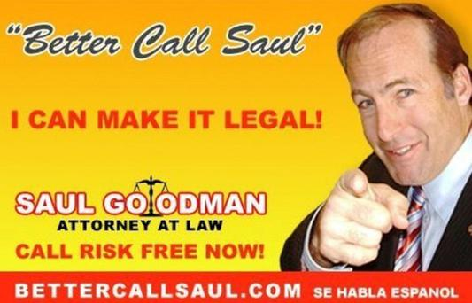 The calling card of the crooked lawyer from TV shows Breaking Bad and Better Call Saul.
