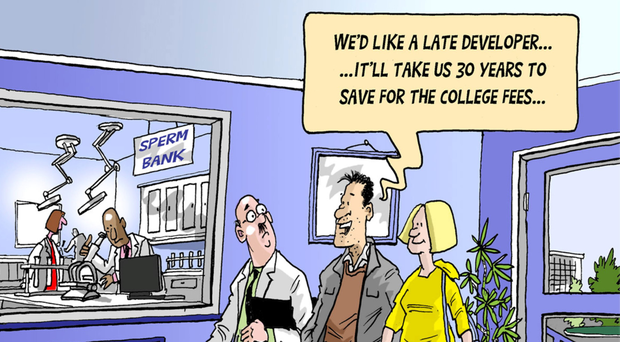 Those who haven't yet started saving to send a child to college this September may have no choice but to borrow the money (Cartoon by Tom Halliday)
