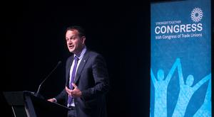 Minister for Social Protection Leo Varadkar speaking at the The Irish Congress of Trade Union conference in Dublin yesterday. Photo: Sam Boal/rollingnews.ie