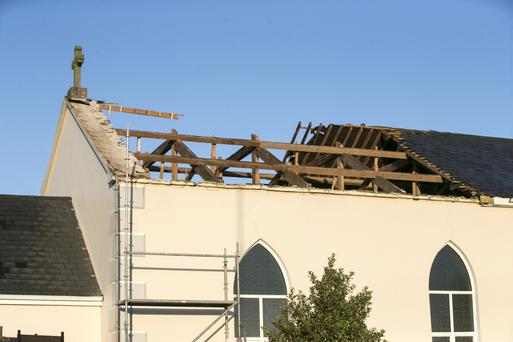 Kilcorney Church in Cork had a section of its roof blown off. Picture: Mark Condren