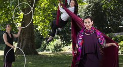 Lucy Medlycott, CEO of the Irish Street Arts, Circus and Spectacle Network, highlighting the urgent need for Insurance Reform with Ria Murphy of Aerial Cirque and Aoife Raleigh of Dublin Circus Project. Picture: Mark Condren