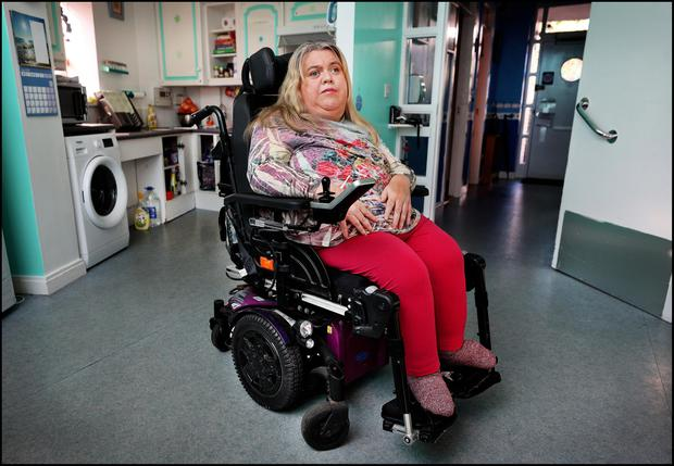 Eileen Daly from Dublin is a disabled employer with cerebral palsy who cannot get insurance to hire staff to help her live independently. Photo: Steve Humphreys