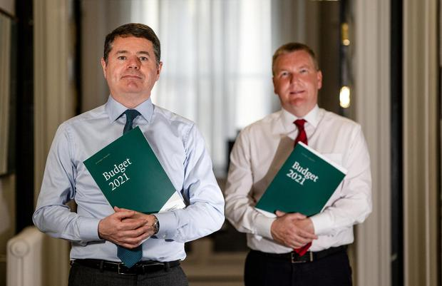 Paschal Donohoe and Michael McGrath pictured ahead of the delivery of Budget 2021. Photo: Gerry Mooney