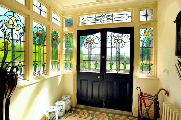 The stained glass in the entrance hall at Ellerslie, Douglas Road, Cork
