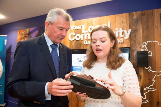 Bank of Ireland CEO Richie Boucher, and Edel Browne of Free Feet, launch StartLab in Galway yesterday. StartLab is an incubator program for tech start-ups in Galway and the surrounding region