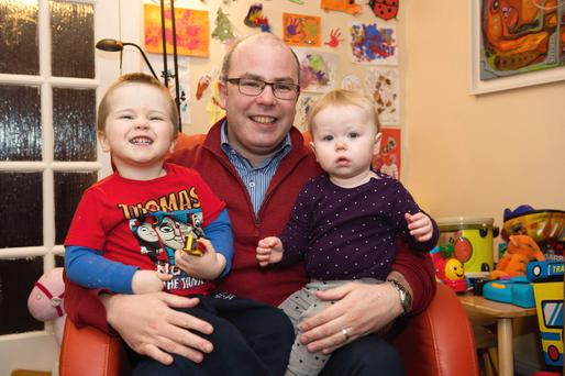 Dad Eoghan Kennedy with Maiya and Dylan in Renmore Galway City. Photo: Andrew Downes