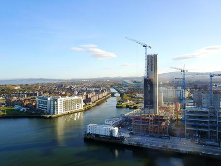 Dublin's Docklands: commercial construction has taken off with gusto in the area with cranes in abundance. Photo: Arthur Carron