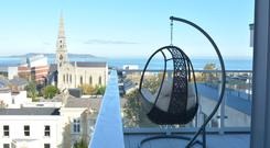 The view over Dublin Bay from the balcony at Brook House, Dún Laoghaire