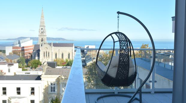 Thanks to its transformation from a five-storey former office block and the addition of a penthouse floor on the rooftop, the Brook House apartment development in Dún Laoghaire commands sweeping views over the rooftops of the Victorian-era seaside suburb, Dublin Bay and the city.