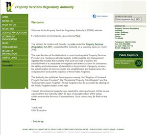 The Property Price Register's home page.