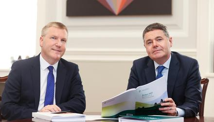 Minister for Public Expenditure and Reform Michael McGrath and Minister for Finance Paschal Donohoe in the Department of Finance ahead of Budget 2022. Picture: Gerry Mooney