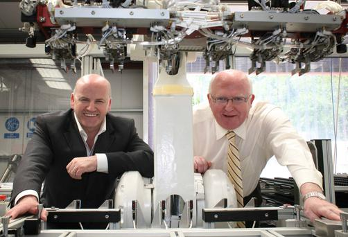 They Set Them Up, We Knock Them Down: Sean Gallagher and John Byrne at CPS Robotics in Tuam, Co Galway. Photo Brian Farrell