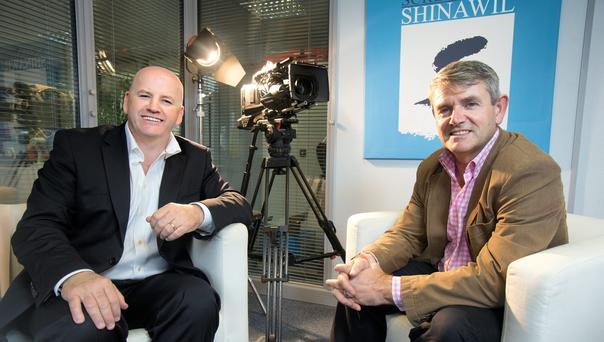 LIGHTS, CAMERA, ACTION: Sean Gallagher with broadcast impresario Larry Bass of Screentime Shinawil. Photo: Tony Gavin