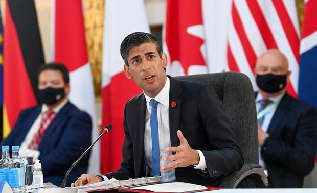 UKChancellor of the Exchequer Rishi Sunakspeaks during the Group of Seven finance ministers' summit.Photo: Andy Rain/EPA/Bloomberg