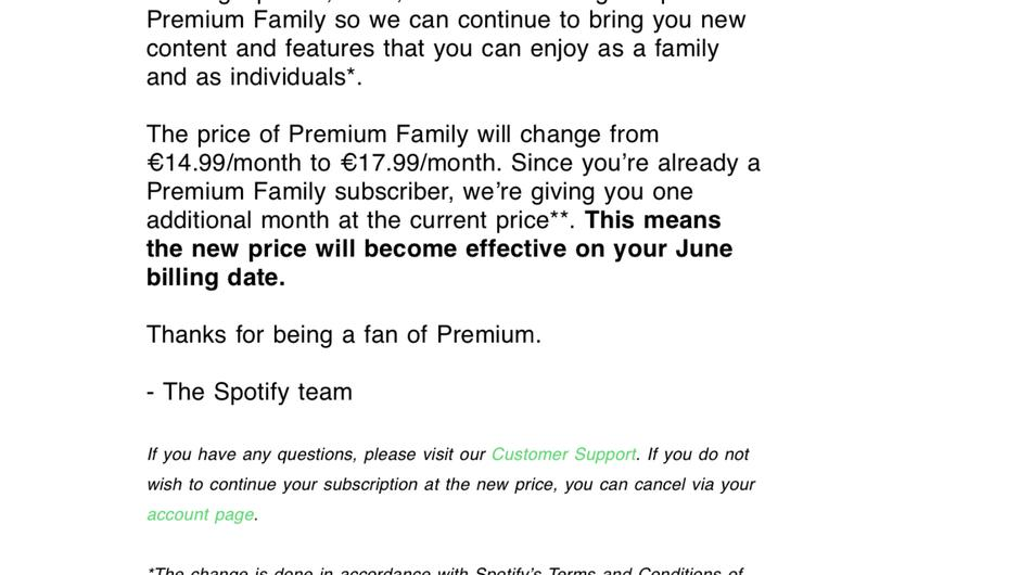 The email that Spotify is currently sending out to Irish 'family plan' subscribers