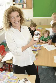 Denise O'Grady, CEO of Schoolspace, with some of the pupils at Kildare Place School