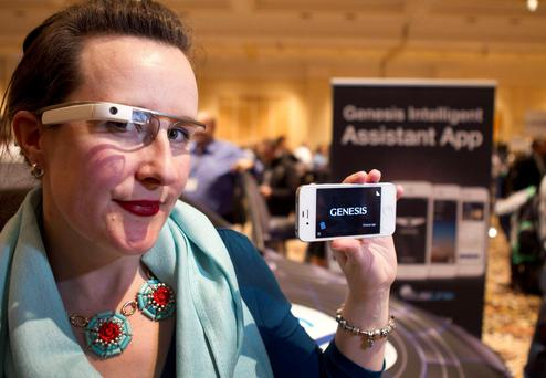 Covisint's Jen Shepherd Moore wears Google Glass, which is integrated with Hyundai Genisis. Photo: Reuters