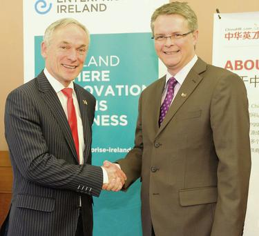Jobs Minister Richard Bruton with Andrew North, CEO of ChinaHR, at the announcement of the €30m investment.