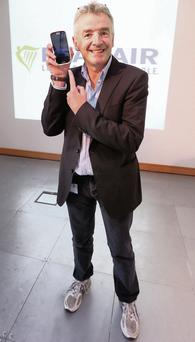 Ryanair boss Michael O'Leary at the launch of his airline's new smartphone app. Photo: Damien Eagers