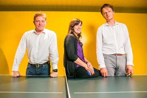 Wayra entrants Vinnie Quinn;Aoife McDonnell; and Marco Herbst of Evercam.io